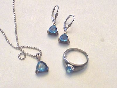 .925 STERLING SILVER Necklace w/ Blue Topaz Pendant, Earrings & Ring