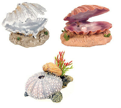 Aquarium Ornament Air Action Clam with Pearl or Snail on Sea Shell Decoration