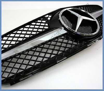 For 08-11 BENZ W204 C250 C300 C350 Sedan As SL Look Fin Front Grille Gloss Black