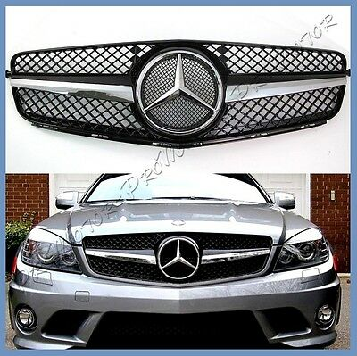 For 12-14 M-BENZ W204 Sedan C250 C300 C350 Fin Front Grille SL Look Gloss Black