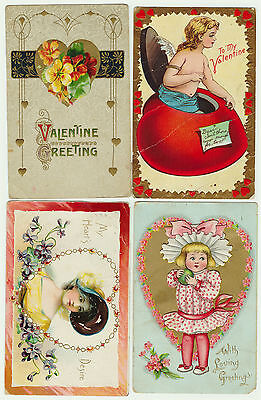 -  LOT of 4  - 1910  Valentine's Day Postcards -  Victorian - Nice Color