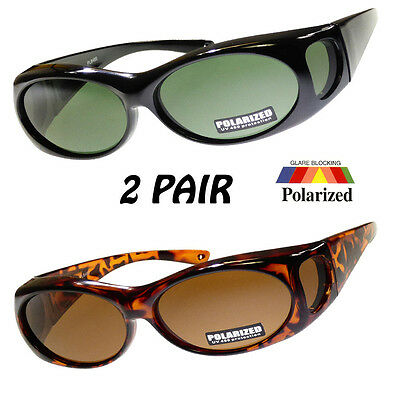 2 Pairs Polarized COVER Over Sunglasses RX GLASS  fit driving sz Small 100% UV