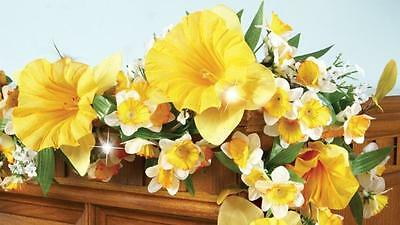 """Pretty Yellow Daffodil Floral Garland LED Accent Lights Spring/Easter Decor 60""""L"""