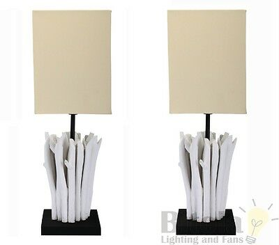Pair Of Domus Driftwood Bedside Lamps Table White Wash Timber Base Beige Shade