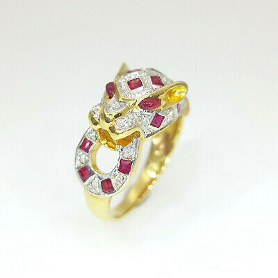 18ct (750, 18K) Yellow Gold Panther Diamond and Natural Ruby Ring