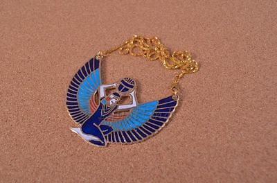 Egyptian Hand Made Large Brass Enameled Winged Isis Necklace
