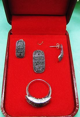 New - Vintage Costume Jewelry 925 Sterling Silver Marcasite Earring Pendant Set