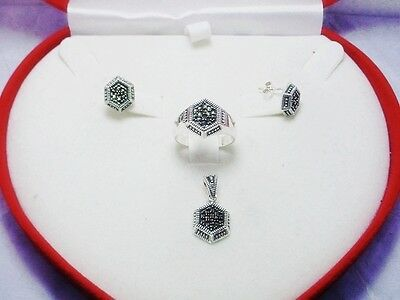 Costume Jewelry 925 Sterling Silver Marcasite Earring Pendant Ring Set
