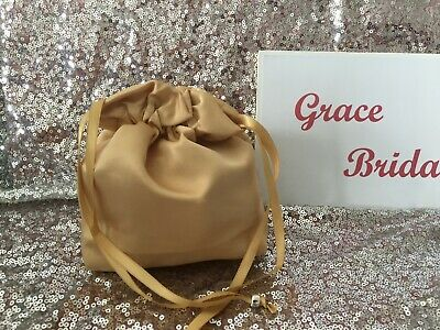 GOLD DUCHESS SATIN DOLLY BAG BRIDAL BRIDESMAID FLOWER GIRL **free samples**BNIP