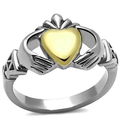 Women's Silver & Gold Stainless Steel Irish Claddagh Fashion Ring Size 5-10