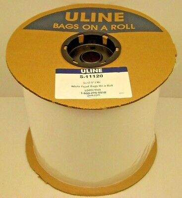 "Uline S-11120 9"" X 12.5"" White Side Polybag 2 Mil 1000 Bags Roll Autobag Plastic"