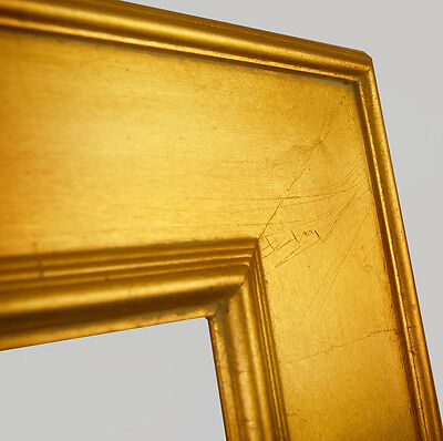 "PICTURE FRAME WOOD CONTEMPORARY PLEIN AIR ART CANVAS PHOTO FLAT 3 3/4"" WIDE GOLD"