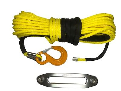 100ft 10mm Yellow Synthetic Winch Rope Includes Hawse & Hook, self recovery 4x4