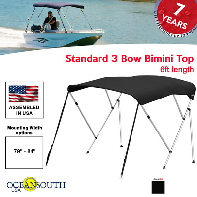 "BIMINI TOP 3 Bow Boat Cover Black 79""-84"" Wide 6ft Long With Rear Poles"