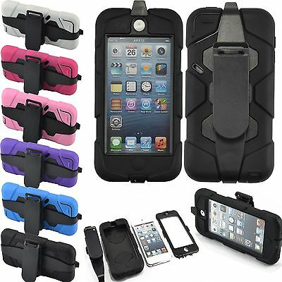 Shockproof Hybrid Impact Hard Back Case Cover Belt Clip For iPod Touch 5 5th Gen