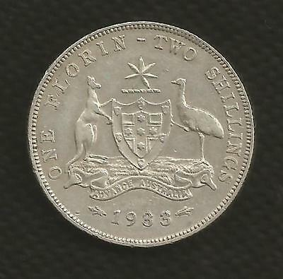 1933 Florin - George V -*6 Pearls* Fine/very Fine - Rare Date - Very Low Mintage