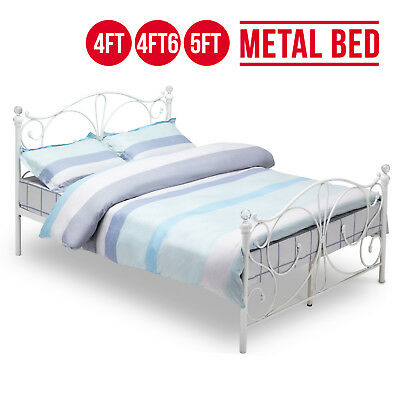 NEW 4FT, 4FT6 Double, 5FT King Size White Metal Bed Frame Bedstead Cry Finials