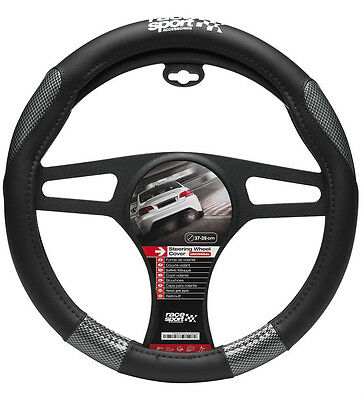 Sumex Race Sport Soft Grip Car Steering Wheel Cover - Black & Grey Carbon #MM1