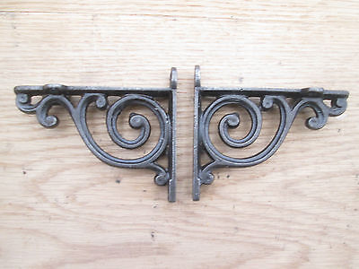 PAIR of antique Scroll swirl style cast iron shelf bracket wall mounted