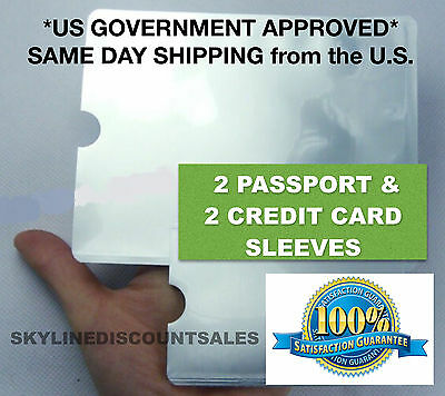 2 RFID Passport ID Sleeve Protector Blocking Safety Aluminum Shield Anti Theft