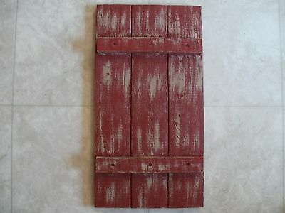 Red Weathered Look Shutter Primitive (Rustic) Wood