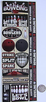 SCRAPBOOKING NO 099 - 15 TEN PIN BOWLING STICKERS from Card Stock