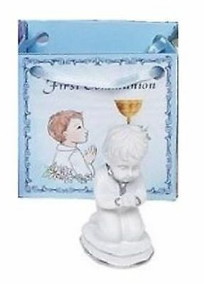 First Holy Communion Resin Keepsake with Mini Wish Gift Bag Chalice Boy