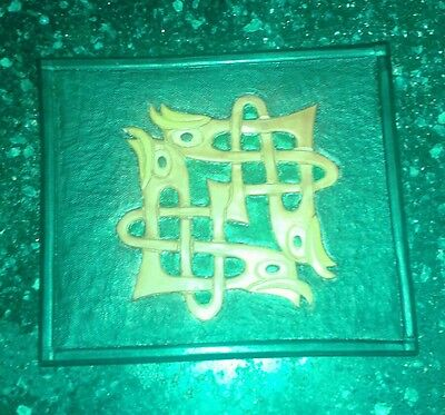 Hand carved Celtic themed leather plaque