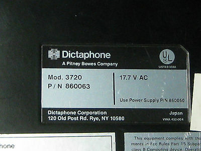 Dictaphone 3720 Microcassette Transcriber Dictation P/n 860063