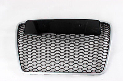 RS Style Mesh Front Grill Grille Fit for Audi A6 C6 S6 06-12 Chrome Frame Sport