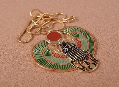 Egyptian Large Hand Made Colored Enameled Winged Scarab Necklace