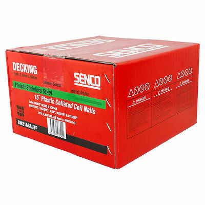 Senco Decking Coil Nail Stainless Steel 15 Deg. Plastic Collated 2.5x50mm 400pc
