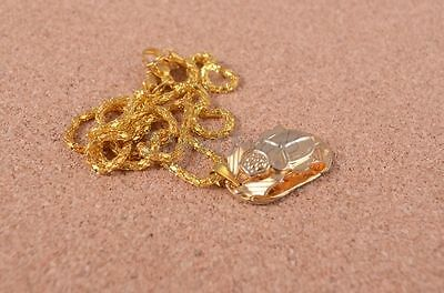 Egyptian Gold Plated Scarab Beetle Luck Charm Necklace