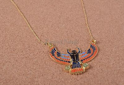 Egyptian Winged Scarab Beetle Luck Charm Necklace