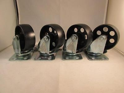 """(4) 3"""" steel swivel wheels caster casters 330 lb rated capacity each"""