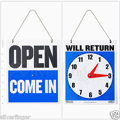 • OPEN CLOSED Sign / WILL RETURN • CLOCK : Business Hours —Hanging 2-Sided 9x7½""
