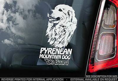 Pyrenean Mountain Dog - Car Window Sticker - Great Pyrenees Dog Sign - Patou