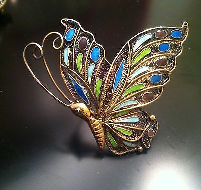 Vintage Chinese Export Sterling Silver Enamel Butterfly Pin Brooch S925