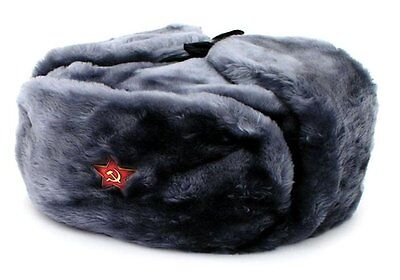 Authentic Russian Gray Ushanka Military hat w/ SOVIET RED STAR HAMMER & SICKLE
