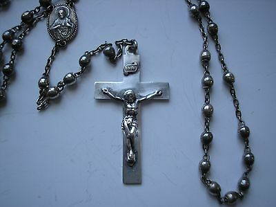 Antique Sterling Silver marked Catholic Rosary Beads Sacred Heart Virgin Mary