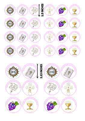 Personalised First Holy Communion Cupcake Toppers GIRLS **BUY TWO GET ONE FREE**