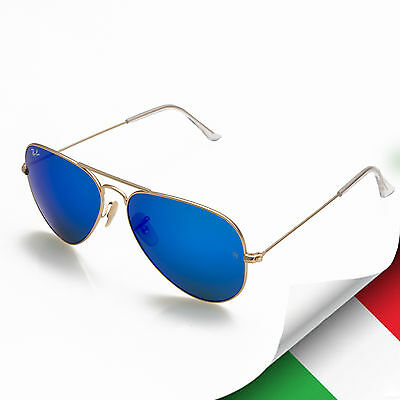 Ray Ban RB3025 Large Aviator 112/17 58mm Sunglasses Gold Frame Blue Mirror Lens