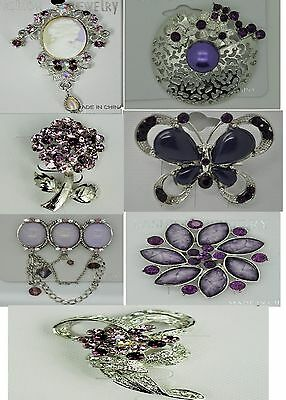 A-70 Wholesale Lot 7 Pins  Vintage Style  Brooches Pins Purple  Bouquet