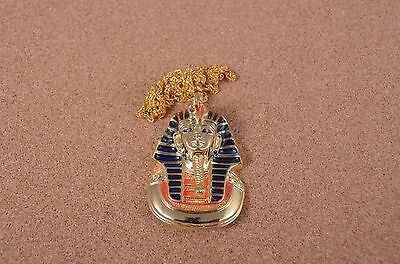 Egyptian 24k Gold Plated King Tut Tutankhamun Mask XL Bust Hand Painted Necklace