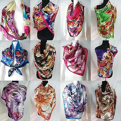 "*US SELLER*lot of 5pc  large 39""x39"" head scarf bandana hijab satin square scarf"