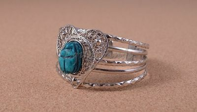 Egyptian Hand Made Heart Filigree Silver Plated Scarab Bracelet