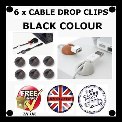 6 X BLACK Cable Drop clip desk tidy organiser wire cord lead USB CHARGER HOLDER