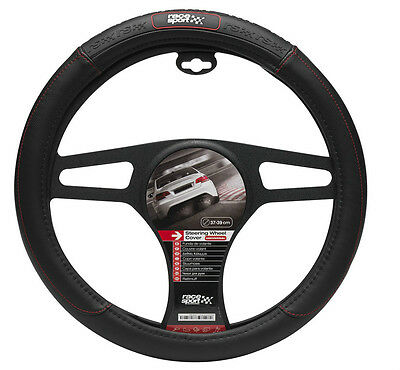 Sumex Race Sport Soft Rubber Grip Car Steering Wheel Cover - BLACK RS DELUXE #M2