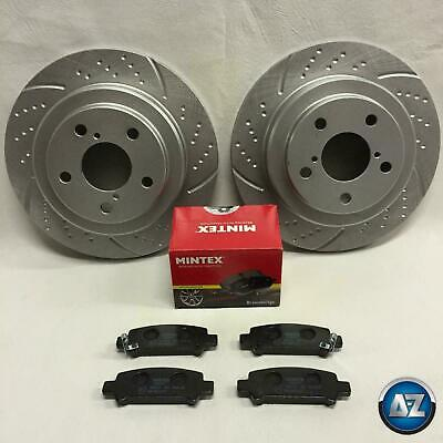 For Subaru Impreza -2000 GC8 WRX STI P1 Rear Grooved Brake Discs Pads 266 Vented