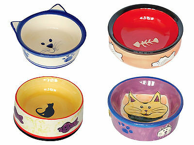 Ceramic Cat Bowl Cat Kitten Feeding Food Water Dish Choice of 4